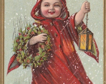 Antique Postcard A Prosperous New Year Girl in Red Cloak