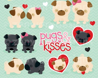 Pugs and Kisses Valentine Clipart
