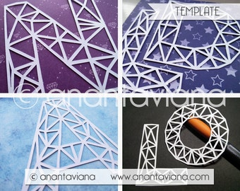 Papercut Template Commercial | Alphabet Letters Geometric | Commercial Use | Design by Anantaviana - Tysslinge frame