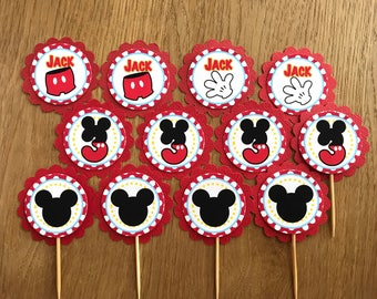 Mickey Mouse Ears ~ Personalised Cupcake Toppers - suit Mickey Mouse party