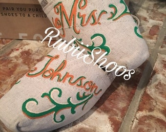 """RubiiShoos Personalized """"Mrs.""""-Wedding-Custom Colors- Painted TOMS- Wedding TOMS-Something New-I Do-Wedding Shoes-Womens TOMS-"""
