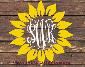 Sunflower Monogram Decal, Yeti Decal, Car Decal, Laptop Decal