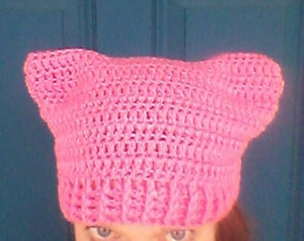 Pink cat hat, crochet pink cat hat, pink pussycat hat, pink women's rights hat, pink cat beanie