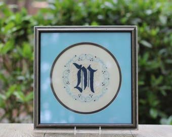 Vintage Framed Embroidered M Linen Monogram / M Wedding Gift / Vintage Framed M / Monogram M / Letter M Gift / Blue M Gift / Wedding Gift M