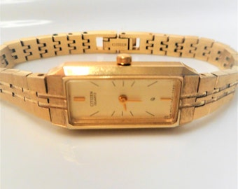 SALE Citizen 5421 Gold Plated Women's Working Petite Watch..New Battery..Vintage Citizen Quartz Women's Watch Gold Plated for Small Wrists