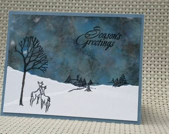 """Hand Stamped Holiday Card, snowy landscape with deer - """"Season's Greetings"""""""