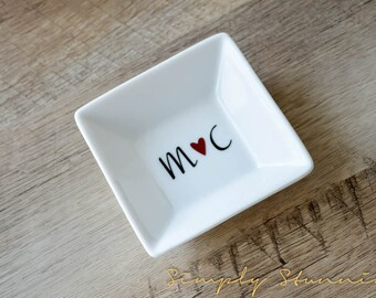 personalized initials ring dish wedding gift engagement gift jewelry dish bride to - Wedding Ring Dish