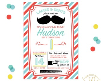 Mustache Invitation | Mustache Party | Barbershop Invitation | Barbershop Party | Little Man Invitation | Little Man Party | First Birthday
