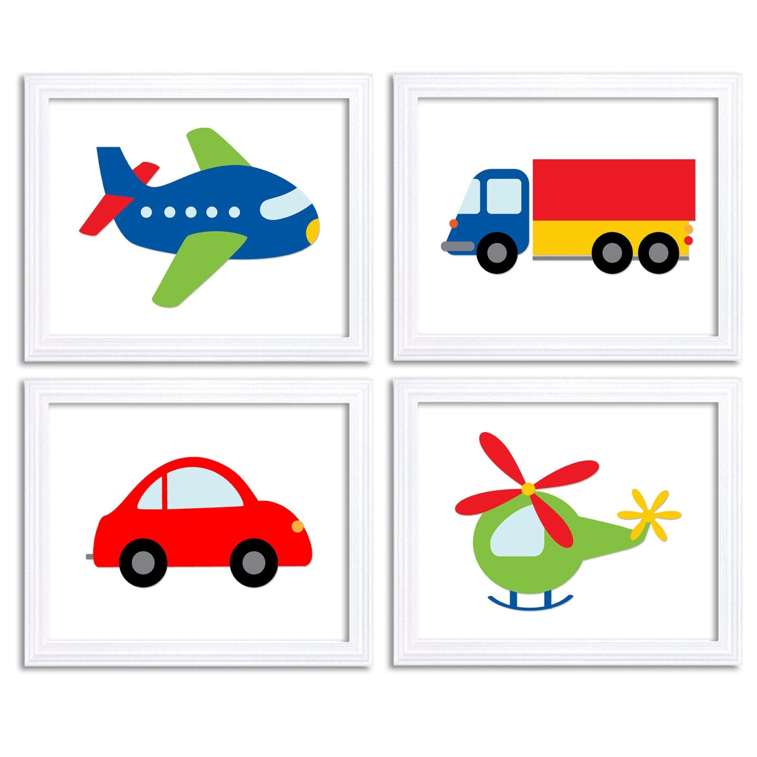 Child Kid Boy Room Wall Decor Transportation Nursery Art Set of 4 Print Colorful Primary Red Blue Gr