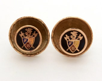 2 Antique Knights of Pythias Pins Enamel FCB Collar Buttons Screw Back Lapel Pins, Antique Fraternal PIns Very Small, K of P Fraternal Pair