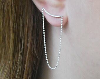 Chain Earrings, Silver Earrings, Otis Jaxon, Stud Earrings, Dangle Chain Earrings, Edgy Earrings, Earrings under 25, Statement Earrings