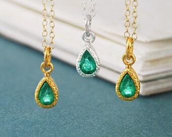 Gold Emerald Necklace, Gemstone Pendant, Birthstone Necklace, Birthstone Gift, May Birthday Gift, Gold Necklace, Gold Pendant, Cute Necklace