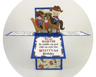 Cowboy Birthday Invitation, Cowboy Birthday, Cowboy Invitation, Cowboy Invite, Rodeo, Boxcard, Pop up Card, Unique Invitation, 3D