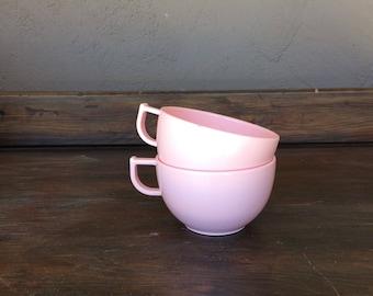 Trump Ware / Trumpetware / Pair of Blush Pink Melmac Coffee Cups // Teacups