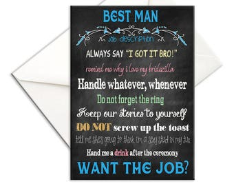 Printed Best Man Card  Chalkboard Will You Be My Best Man with Job Description