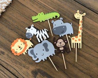 Safari Themed Animal cupcake toppers, Jungle Theme Party