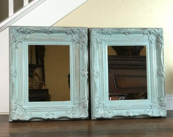 "Mirrors, Blue Mirrors, Pair Of Mirrors, 21 1/2"" by 25 1/2"", Vanity Mirrors, Hollywood Regency, Different Sizes And Colors, Ornate Mirror"