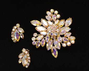 Signed Sherman Jewelry Set Brooch and Earrings Collectible 1960's