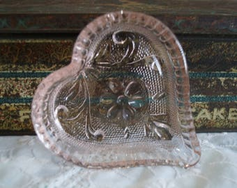 Vintage Pressed Glass Heart Shaped Dish-Trinket Dish-Jewelry Dish-Individual Candy or Nut Dish