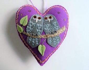 Owl Ornament, Felt Heart Ornament, Felt Owl, Doorknob Hanger, Doorknob Pillow, Gift for Bird Lover, Romantic Owls, Bird Decor, Bird Ornament