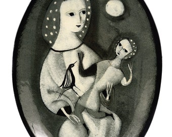 Polia Pillin -Mother w/Daughter - Black & white Painted Ceramic Plate