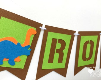Dinosaur Garland. Birthday party banner.  Green, Orange and Blue dinosaurs. Dino party, baby shower, party decorations.