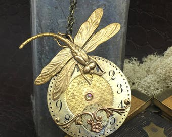 Reserved 4 kathy  Steampunk Dragonfly necklace pocket watch plate handcrafted art2wear Victorian Magpie