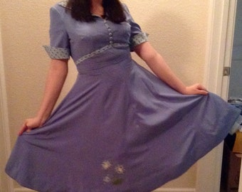 blue rockabilly dress