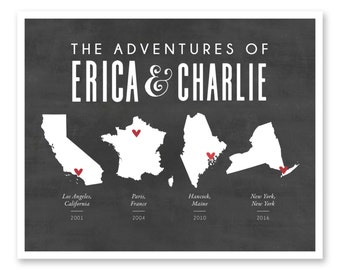 Custom Travel Map Print, Places We've Been, Where We Have Been, Our Life Journey, Anniversary Gift, Travel  Unique Valentines for Him Her