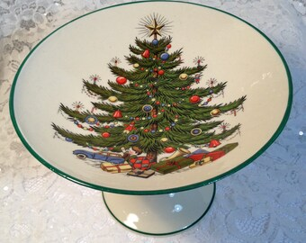 Christmas Tree Compote, Pedestal Serving Dish, For Christmas Treats, Christmas Candy Dish.