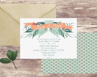 The Cody Wedding Invitation and RSVP Set, Winter Wedding Invitation, Christmas Wedding Invite, Holiday Wedding Invitation, December Wedding