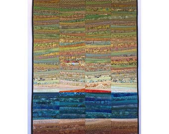 """Art quilt. Quilted wall hanging. Landscape. Abstract textile art. Color on  the mountain. 32x48"""" OOAK. Modern art quilt. Contemporary fiber."""