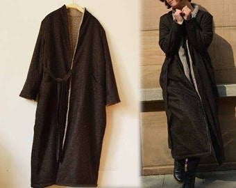 539---Faux Shearling Robe Coat, Wrap Coat, Made to Order.