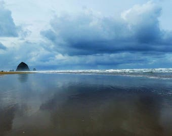 Haystack Rock - Tide 8x10 Nature Photography Digital Print - Cannon Beach, Oregon Coast - Exploring Outdoors