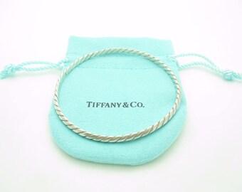 Tiffany & Co. Sterling Silver Twisted Knife Edge Bangle Bracelet