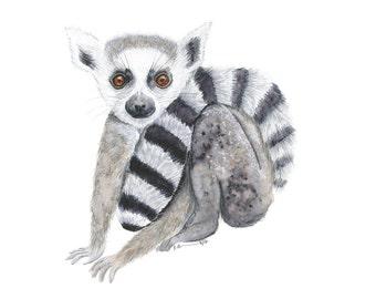 Lemur Art Print - Safari Animal Nursery - Baby Animal Art - Baby Lemur - Safari Nursery Print - Lemur Print - Kids Wall Art - Girl - Boy