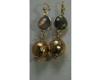 Labradorite and gold earrings.
