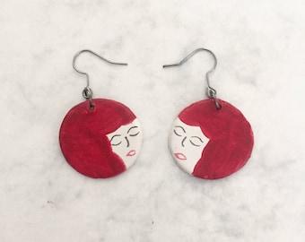 Red Head Little Ladies // handmade and handpainted earrings //