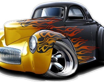 Car With Flames Etsy