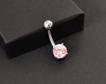 Pink CZ Belly Button Ring, Surgical Steel Belly Button Ring, Pink Belly Button Ring, 14G Surgical Steel, Pink Navel Barbell