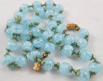 Vivid Blue Murano Glass Beads Sommerso Style Knotted Necklace Venetian Art Glass