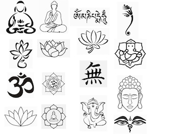 16 buddhist patterns for machine Embroidery applique buddhism om, lotus, ganesh Instant download