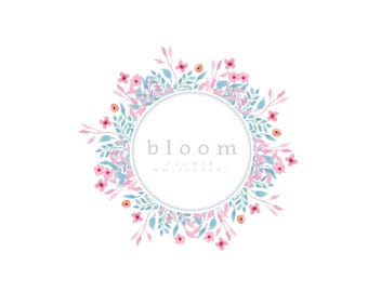 Floral business Logo design, Customisable Pre-made OOAK logo.
