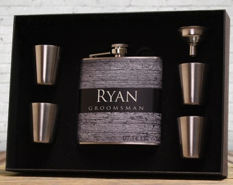 Groomsmen Gifts, Set of 9, Personalized Flask Sets, Faux Barn Siding, Outdoor Weddings, Rustic Wedding