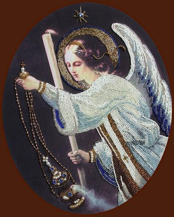 Praying Angel DIY bead embroidery kit Needlepoint beading Beaded painting set House warming gift idea