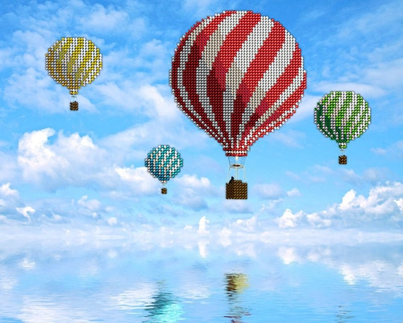 Hot Air Balloons DIY bead embroidery kit, wall art decor, housewarming gift idea, craft kit, beaded painting set