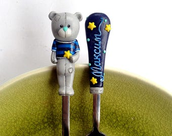 Teddy bear Toy Baby shower Gift Bear Fork Personalized Cutlery set Birthday Gift for Baby Taddy Bear Navy Blue Grey Cute gift for Baby boy