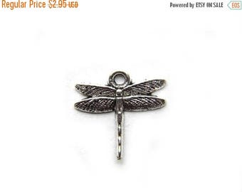HALF PRICE 6 Small Silver Dragonfly Charms