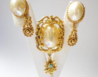 Vintage Florenza Set Brooch Earrings Victorian Revival Pearl Luster Cabochon Faux Turquoise Designer Signed Baroque Wedding