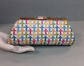 Paper Clutch. Decorative Crosses. Multi Colors on a White Ground. Gold Metal Purse Clasp. From Conserving Threads.